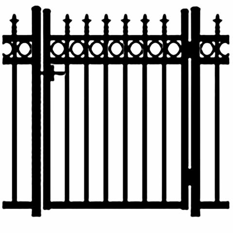 Jerith Kensington Plus Rings Aluminum Single Swing Gate w/Finials