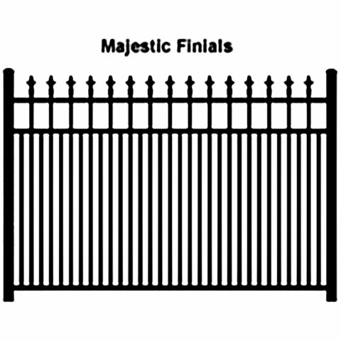 Ideal Finials #600 Modified Double Picket Aluminum Fence Section
