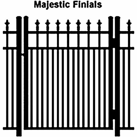 Ideal Finials #600MD Aluminum Single Swing Gate - Modified Double Picket