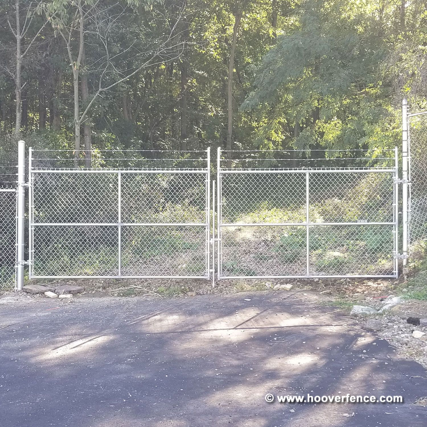 "Commercial Chain Link Fence Double Gates, All 1-5/8"" Galvanized HF20 Frame - With Barbed Wire"