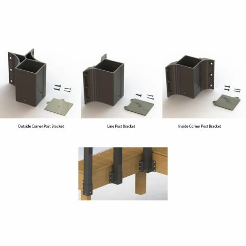 "Key-Link Fascia Mount Brackets - 3-1/4"" Post"