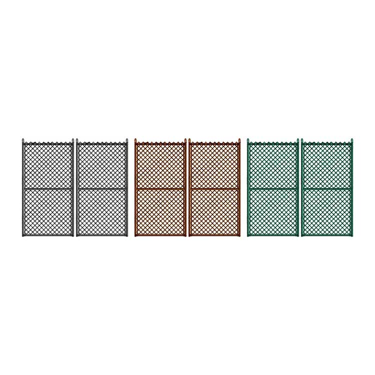 "Hoover Fence Commercial Chain Link Fence Double Gates, All 1-5/8"" Galvanized HF20 Frame - Black, Brown, and Green"