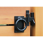 Snug Cottage Hardware Contemporary Ring Gate Latch - Setback Mount with Gate Stop - Black (6152-L6SP)