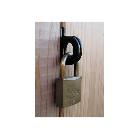 Snug Cottage Hardware Pair, Padlock Eyes - Black Powder Coated Stainless Steel (TEK screws for PVC)
