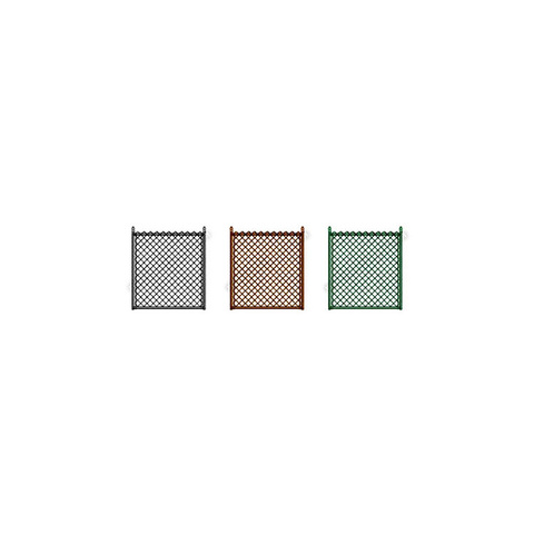 """Hoover Fence Residential Chain Link Fence Single Swing Gate - All 1-3/8"""" Round Frame, 8ga. E&B Fabric - Black, Brown, and Green"""
