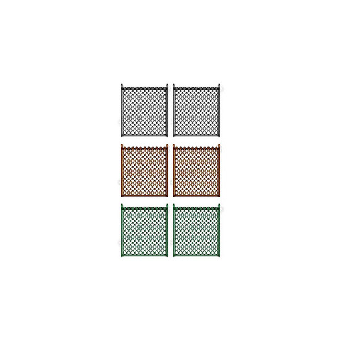 "Hoover Fence Residential Chain Link Fence Double Swing Gate - All 1-3/8"" Round Frame, 8ga. E&B Fabric - Black, Brown, and Green"
