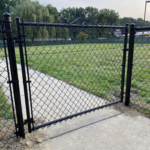 """Hoover Fence Residential Chain Link Fence Single Swing Gate - All 1-3/8"""" Round Frame, 9ga. Fabric - Black, Brown, and Green"""