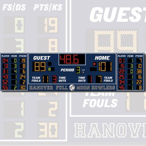 Electro-Mech Indoor Basketball Scoreboard Model LX2555 - Specify Colors - Ship Quote Required