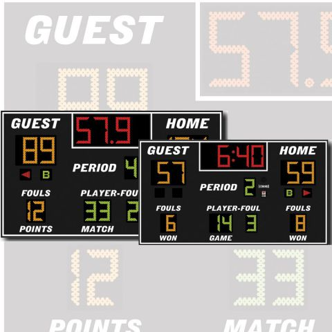 Electro-Mech Indoor Basketball/Volleyball/Wrestling Scoreboard Model LX2655 - Specify Colors - Ship Quote Required