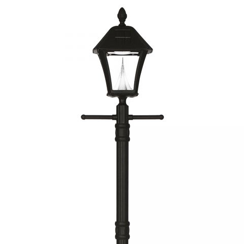 Gama Sonic Baytown Solar Lamp Post w/ Planter - Black
