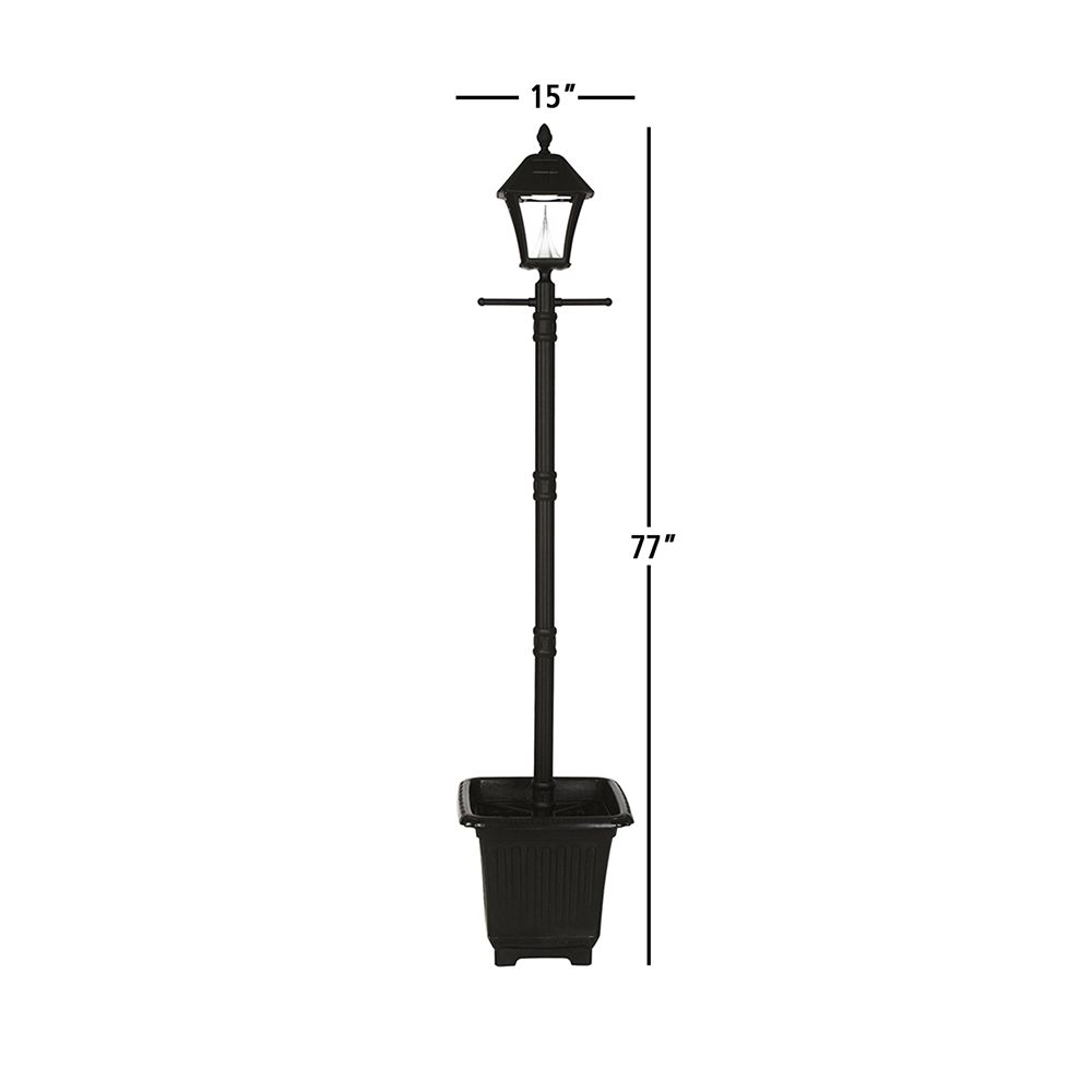 Gama Sonic Baytown Solar Lamp Post W Planter Black