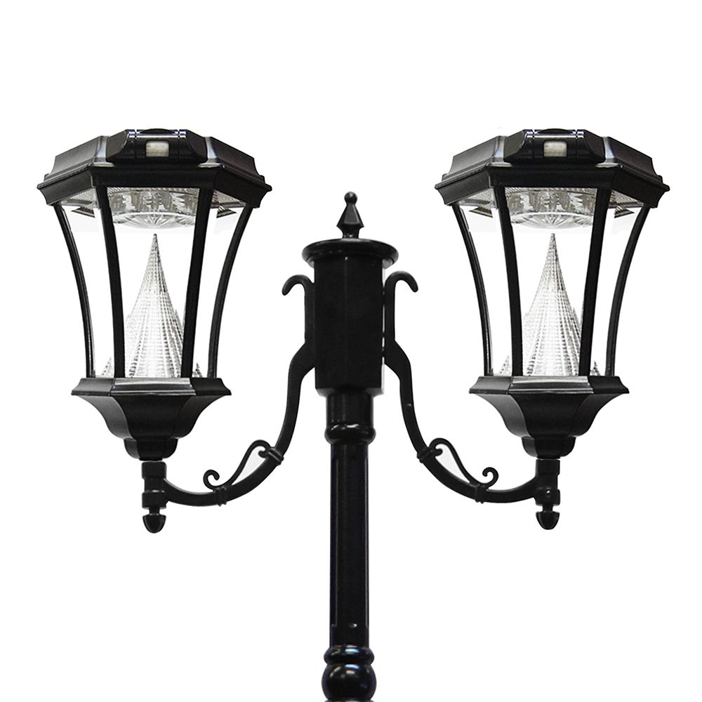 Gama Sonic Victorian Solar Lamp Post Double Black