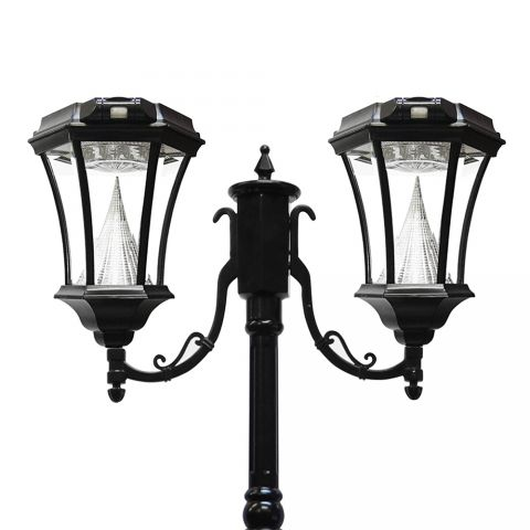 Gama Sonic Victorian Solar Lamp Post - Double - Black