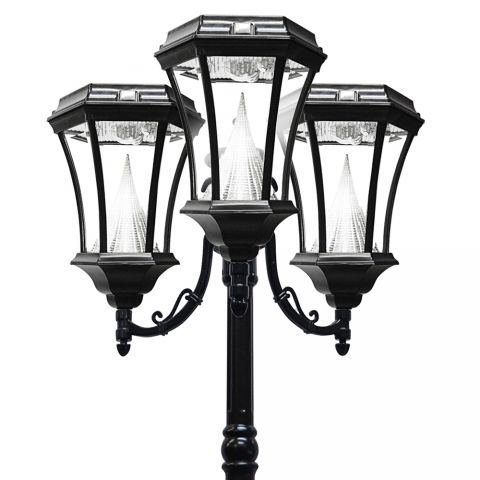 Gama Sonic Victorian Solar Lamp Post - Triple - Black