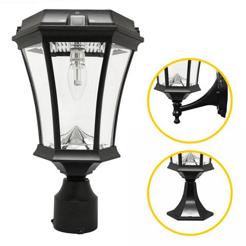 "Gama Sonic Victorian Solar Light w/ GS Solar Light Bulb - Wall/Pier/3"" Fitter Mount - Black"
