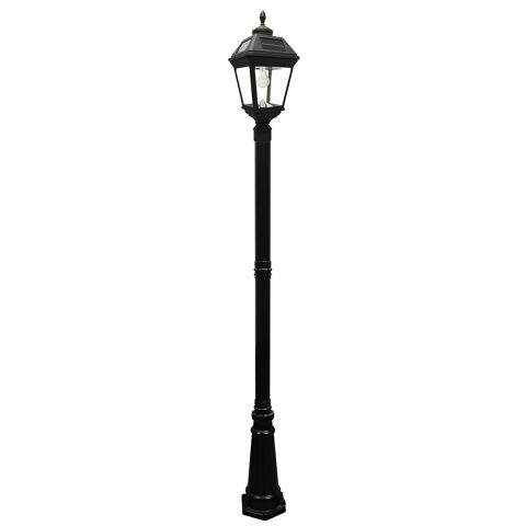 Gama Sonic Imperial Solar Lamp Post w/ GS Solar Light Bulb - Single - Eagle/Acorn Finial - Black