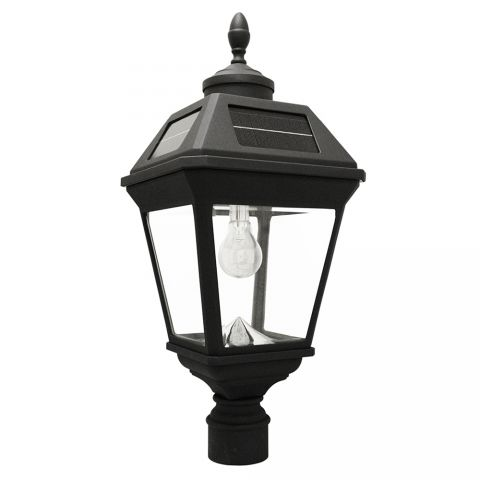 "Gama Sonic Imperial Solar Light w/ GS Solar Light Bulb- 3"" Fitter Mount - Eagle/Acorn Finial - Black"