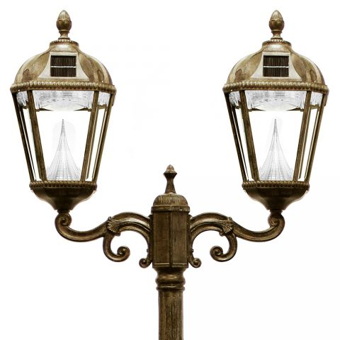 Gama Sonic Royal Solar Lamp Post - Double - Weathered Bronze