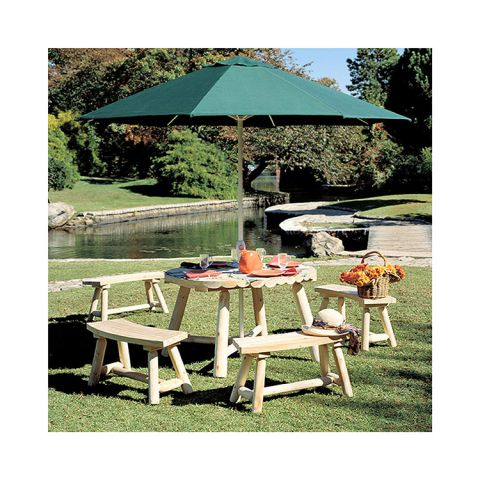 Rustic Cedar Furniture Round Umbrella Table Group - 5 pieces