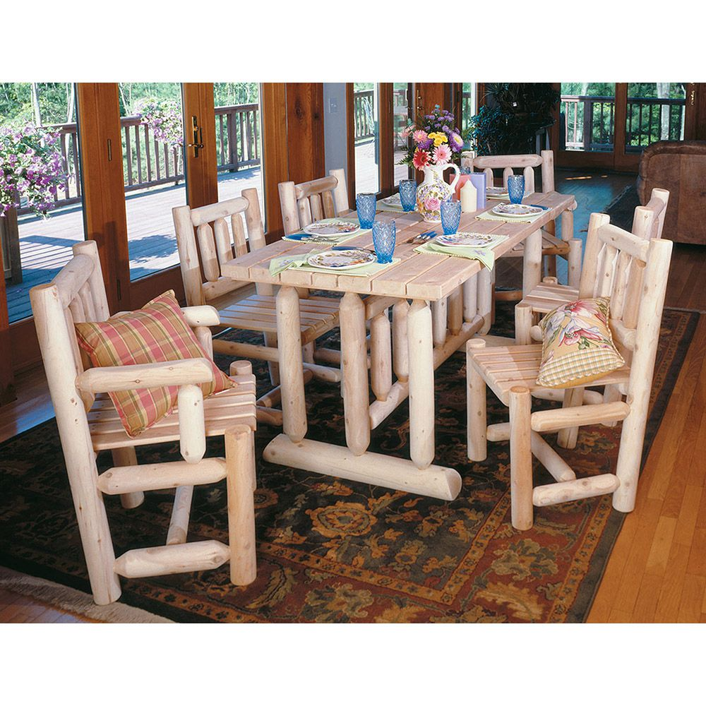 Rustic Cedar Furniture Harvest Family Dining Room Table Set - 7 pieces