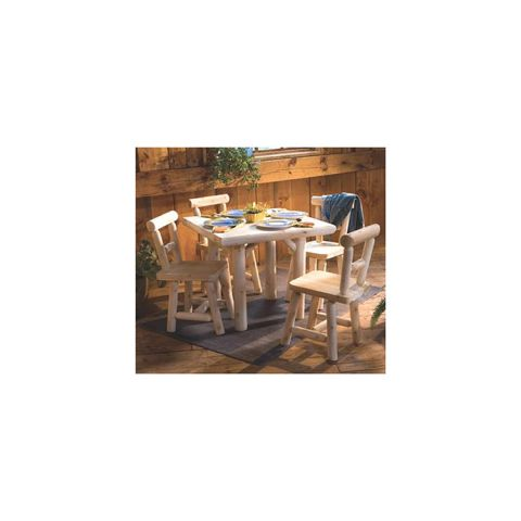 Rustic Cedar Furniture Solid Top Square Dining Table Group