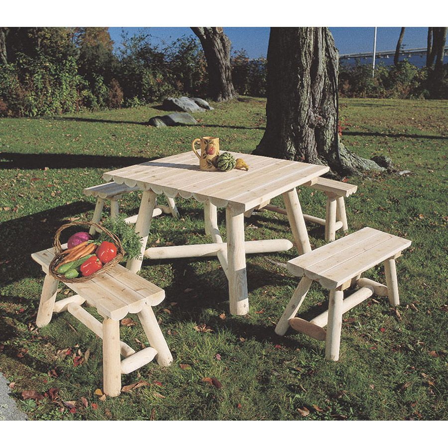 Rustic Cedar Furniture Square Bench Dining Group - 5 pieces