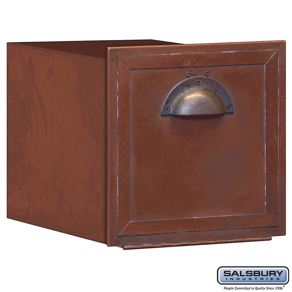 Salsbury Antique Brass Mailbox - horizontal recessed mounted