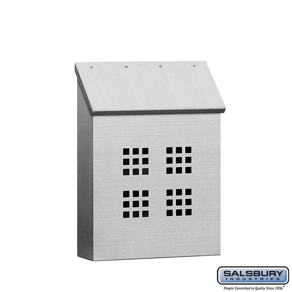 Salsbury Stainless Steel Mailbox, Traditional, Decorative, Vertical Style