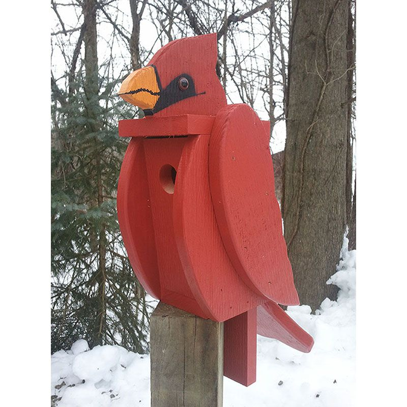 Cardinal Look-Alike Bird House
