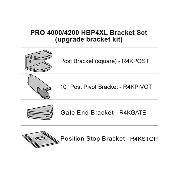 GTO Bracket Set for PRO4000XLS Series (Post, Pivot, Gate, Stop)