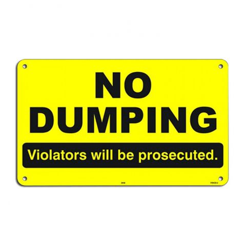 "6"" x 10"" Aluminum Sign - No Dumping"
