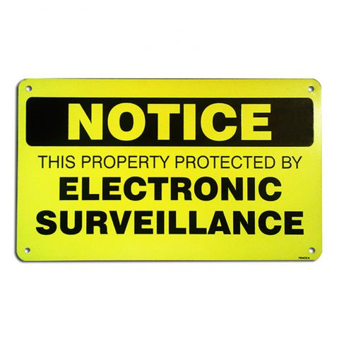 "6"" x 10"" Aluminum Sign - Electronic Surveillance"