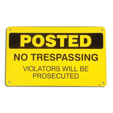 "6"" x 10"" Aluminum Sign - No Trespassing"