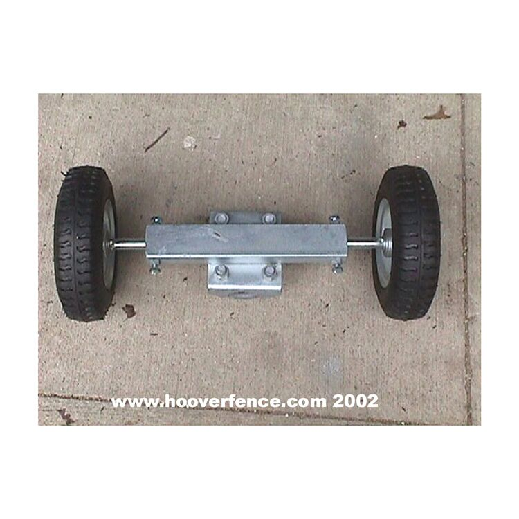 "Pneumatic Double Wheel Carrier for Chain Link Fence Rolling Gates - fits 1-5/8"" & 2"", 8-10"" wheel"
