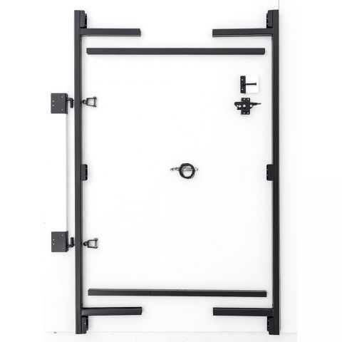 "Jewett-Cameron 3-Rail Double Adjust-A-Gate Kit w/ Drop Rod, 60""H x 36-72"" Each, Black"