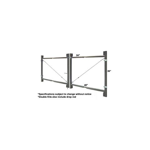 "Jewett-Cameron 2-Rail Double Adjust-A-Gate Kit w/ Drop Rod, 36""H x 60-96"" Each"