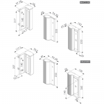 Locinox MAG2500 and MAG5000 Electromagnetic Locks with Handles Dimensions