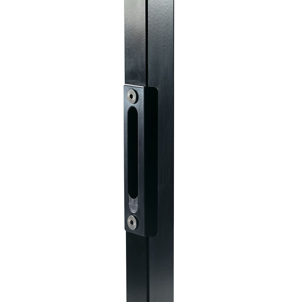 "Locinox Cover Plate w/Insert and Quick Fix Bolts, Black, Stainless Steel, for 1-1/2"" Square Post"
