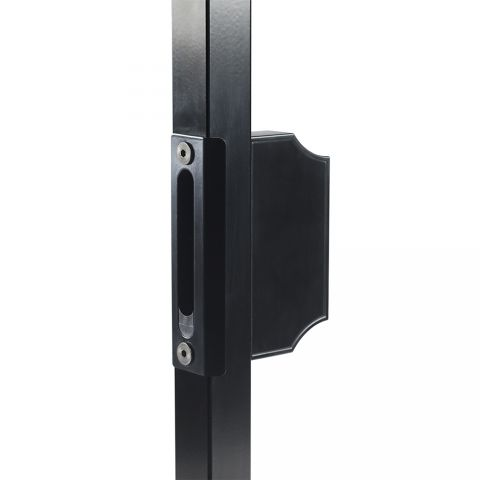 "Locinox Cover Plate (SS) w/Insert and Counter Lock Box (Alum), Black, for 1-1/2"" Square Post"