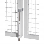 Locinox VSF Drop Bolt with Aluminum Housing and Galvanized Steel Rod Installed on Gate