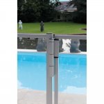 Locinox Mammoth180 Self-Closing Hinge Set Installed on Silver Metal and Glass Pool Gate