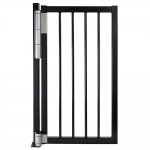 Locinox Mammoth180 Self-Closing Hinge Set - Silver Hinge and Closer Installed on Black Gate