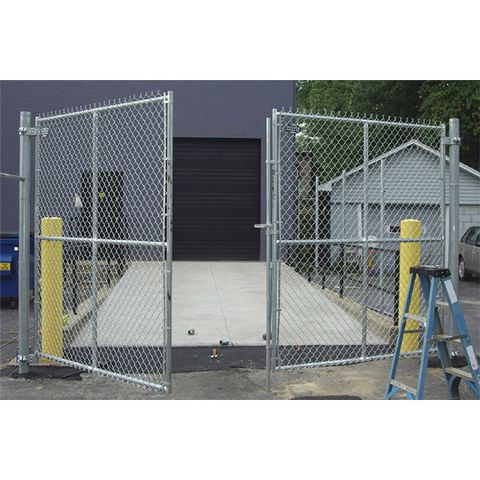"Hoover Fence Commercial Chain Link Double Gates, All 1-5/8"" Galvanized HF20 Frame"