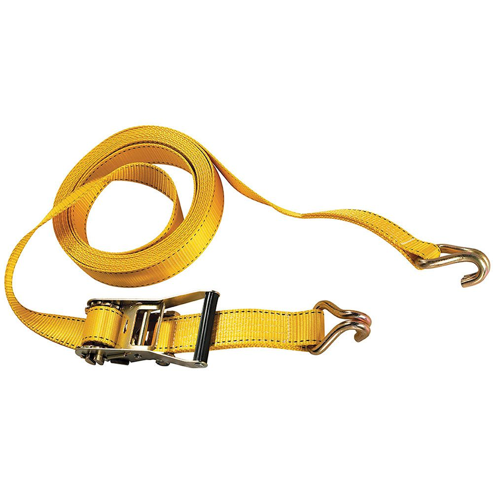 "Master Lock 27' x 2"" Ratchet Tie-Down with J Hooks Yellow"