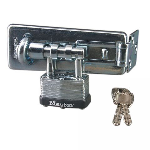 "Master Lock 4-1/2"" Long Hardened Steel Hasp with Integrated 1-3/4"" Laminated Steel Padlock"
