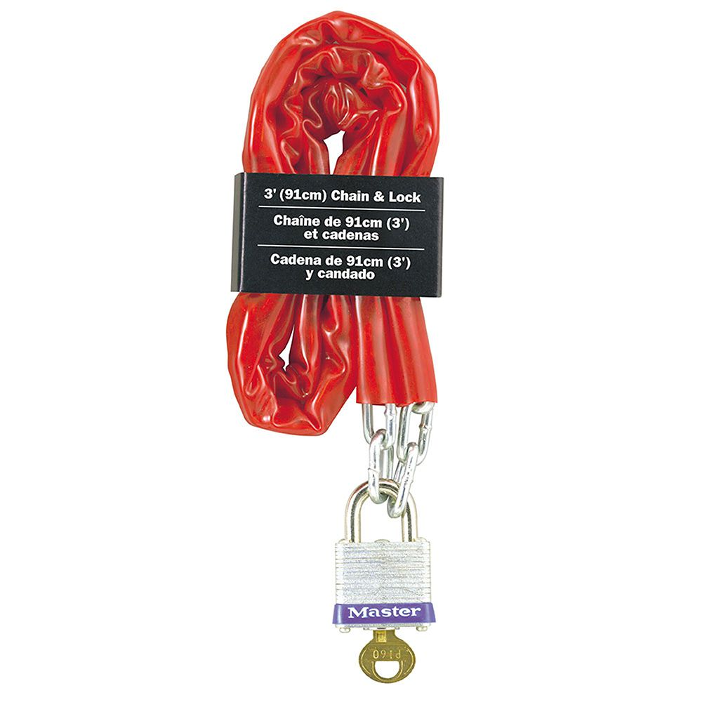 "Master Lock 3' Long x 9/64"" Diameter Welded Steel Chain with Laminated Steel Padlock"