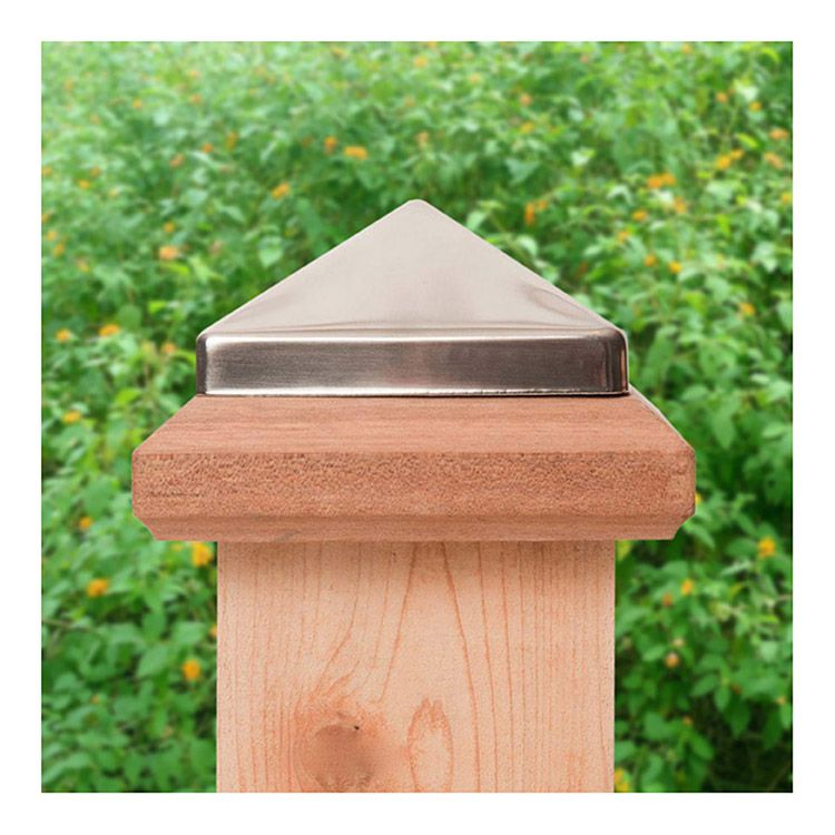 Captiva Miterless Traditional Stainless Steel Post Caps for Wood Posts