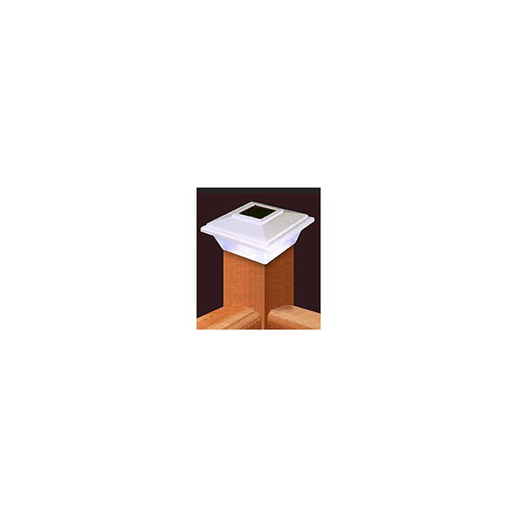 LMT Solar Lighting Colonial Post Cap - White - Fits True or Dimensional 4x4 Post