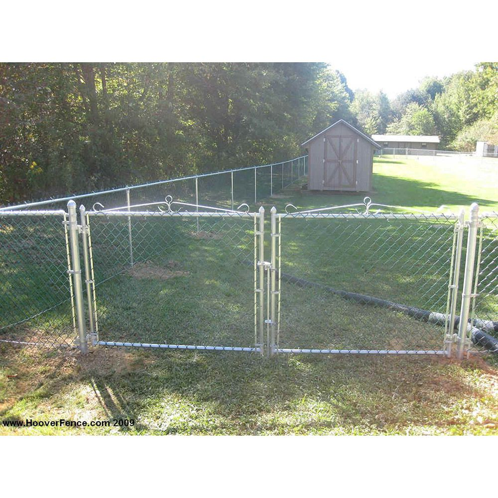 "Hoover Fence Residential Chain Link Fence Double Swing Gates - 1-3/8"" Galvanized Frame"