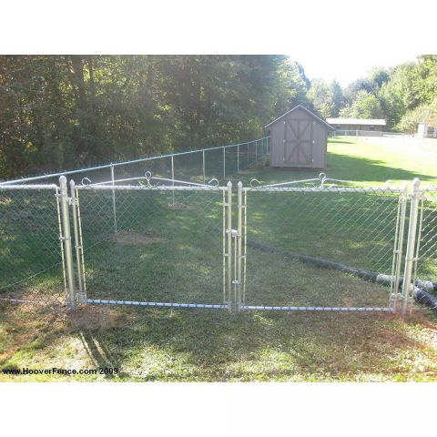 "Hoover Fence Residential Chain Link Fence Double Swing Gate - All 1-3/8"" .065 Frame"